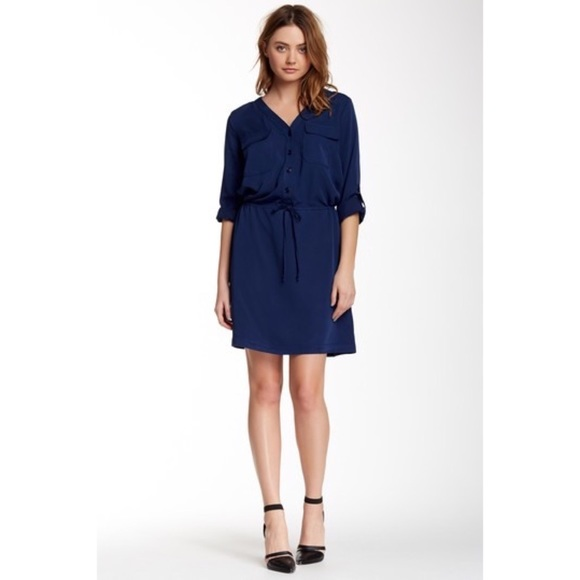 1aa9ae9a3a7 Max Studio Navy Rolled Sleeve Shirtdress